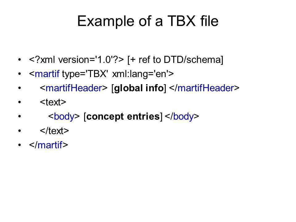 Example of a TBX file < xml version= 1.0 > [+ ref to DTD/schema] <martif type= TBX xml:lang= en >
